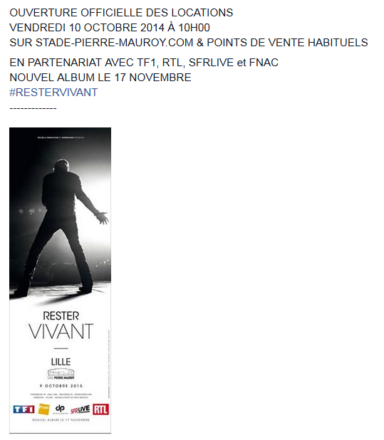 """Tournée 2015/2016 de johnny """"RESTER VIVANT """" Dates de tournée et Part 1 les festivals Captur50"""