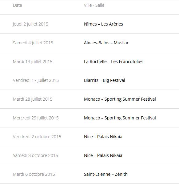 """Tournée 2015/2016 de johnny """"RESTER VIVANT """" Dates de tournée et Part 1 les festivals Captur70"""