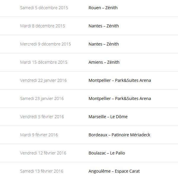 """Tournée 2015/2016 de johnny """"RESTER VIVANT """" Dates de tournée et Part 1 les festivals Captur74"""