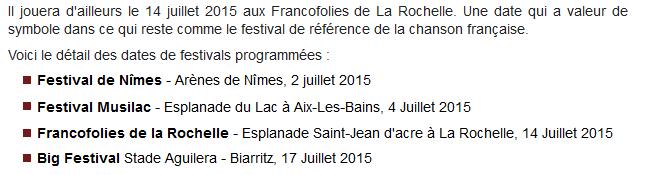 """Tournée 2015/2016 de johnny """"RESTER VIVANT """" Dates de tournée et Part 1 les festivals Captur93"""