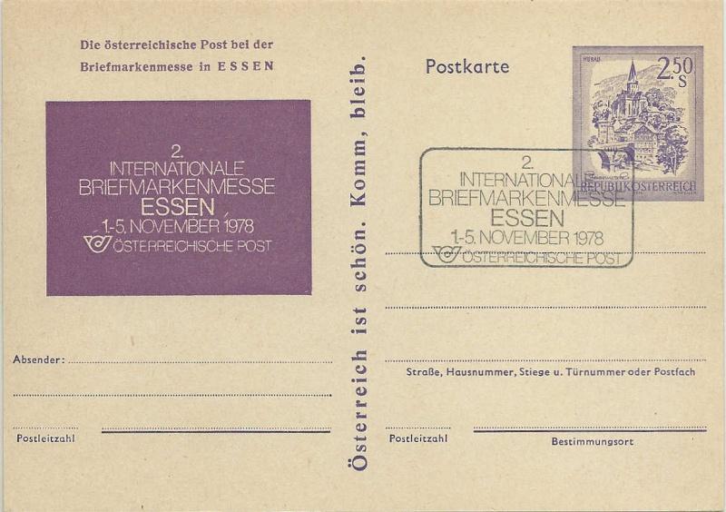 """Wertstempel """"Schönes Österreich"""" - Zudrucke auf Ganzsachen 0250gs10"""