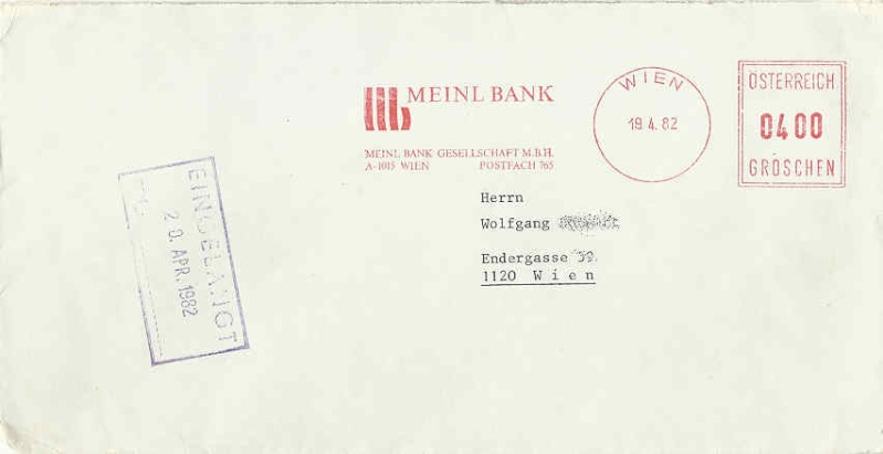 Briefe / Poststücke österreichischer Banken - Seite 2 Meinl112