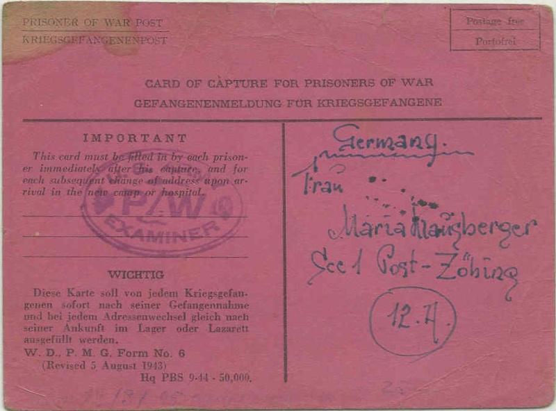 Kriegsgefangenenpost II. Weltkrieg (Österreich) Zybing10