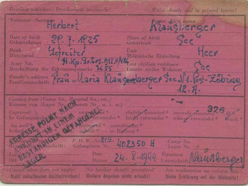 Kriegsgefangenenpost II. Weltkrieg (Österreich) Zybing11