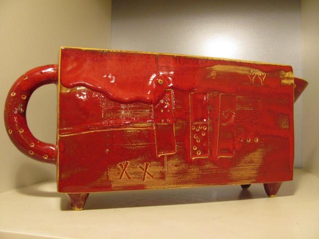 Red Rectangular Footed Jug Img_4518