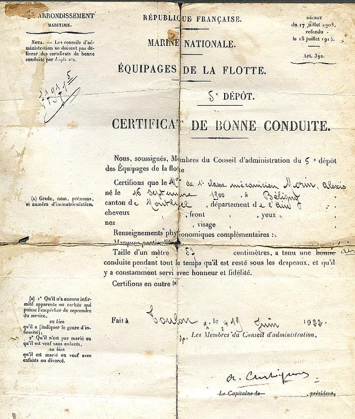 Recherche informations sur mon grand-père Alexis MORIN QM2 mécan 1920/1922  Alexis14