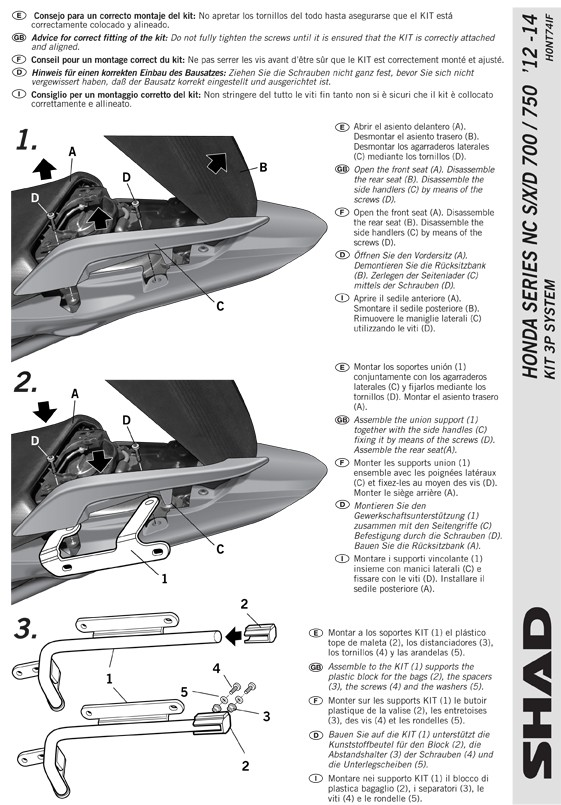 SH36 for Honda NC700 / NC750 / Integra 700 / Integra 750 Techni10