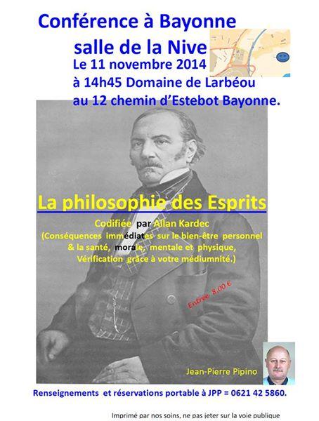 Conférence à Bayonne sur la philosophie des Esprits codifié par Allan Kardec le 11 novembre 2014 à partir de 14H45 10129010