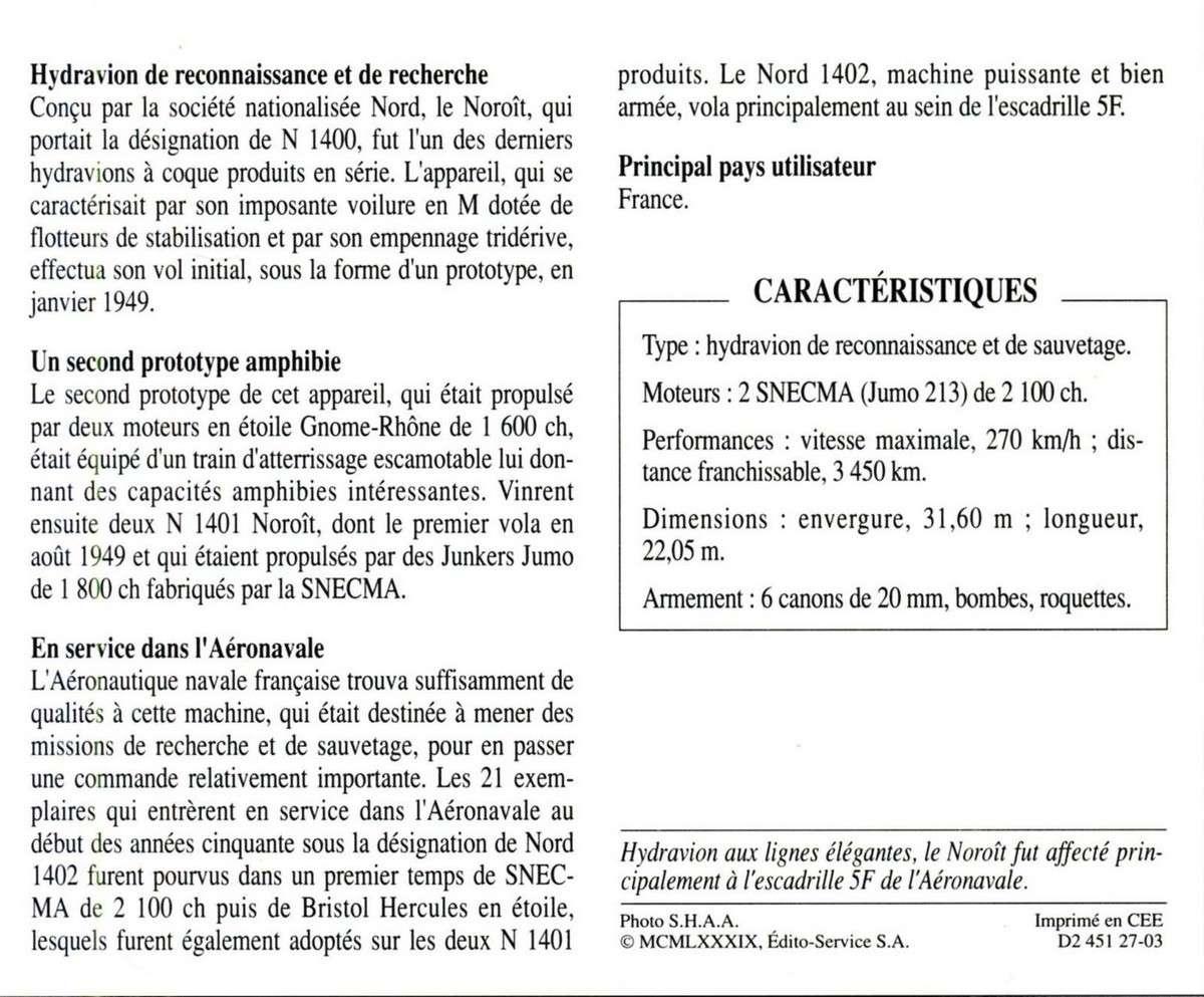 """[Les anciens avions de l'aéro] AMPHIBIE SNCAN NORD 1402 """"Noroit"""" 324"""