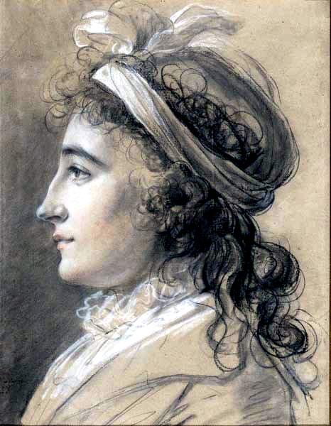 Tentative de retrouver un tableau d'après un dessin de femme au turban Vigee-10