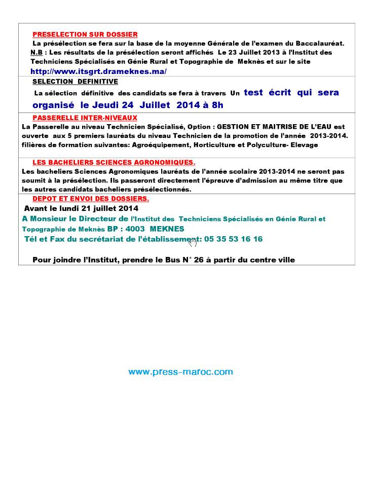 مباراة ولوج معهد التقنيين المتخصصين في الهندسة القروية و مسح الأراضي مكناس - آخر أجل 21 يوليو 2014  210
