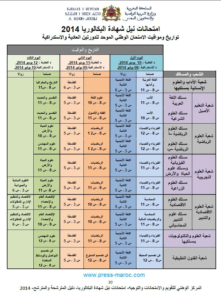 جدول تواريخ ومواقيت مواد الإمتحان الوطني لنيل شهادة البكالوريا للدورتين العادية والإستدراكية 2014 Bac-2010