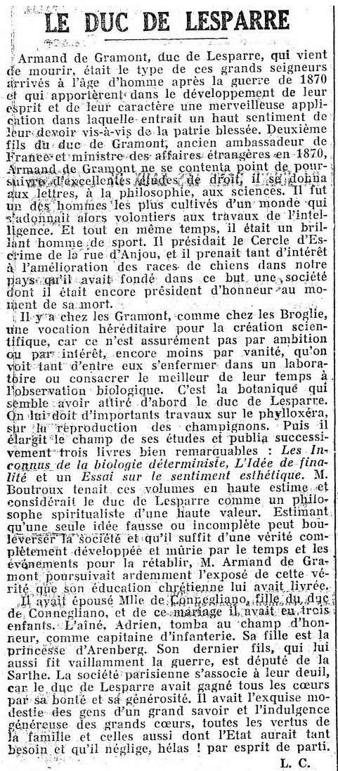 Duc de Lesparre, 1e Président du Retriever Club... Lespar11