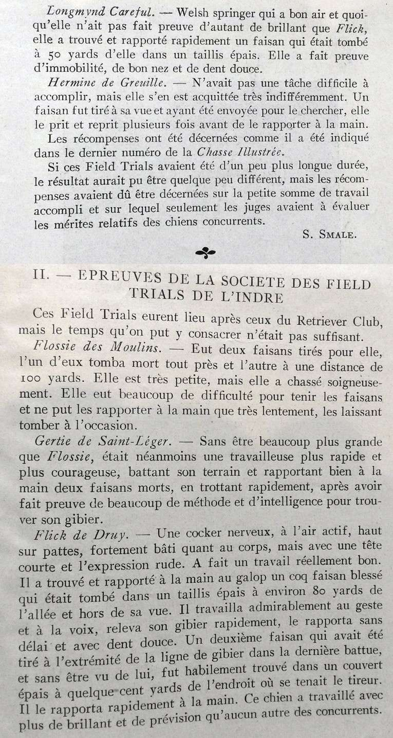 1e field-triald du Retriever-Club, notes du Juge M. Smale... Smale310