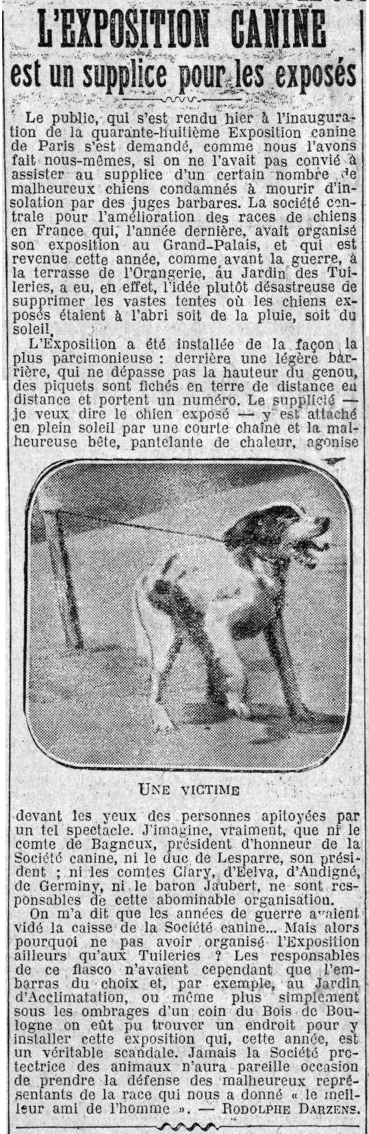 L'exposition canine est un supplice pour les exposés, Paris 1922... Suplic10