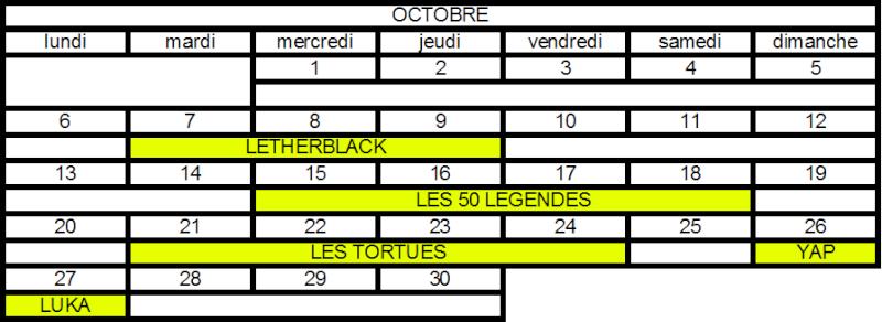 Calendrier des Raids Oct11