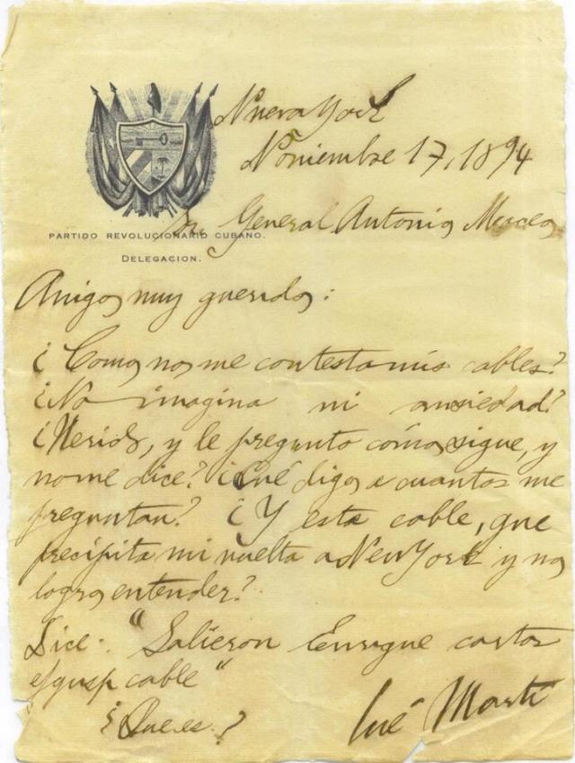 Carta Original del puño y letra de JOSÉ MARTÍ a ANTONIO MACEO 10639310
