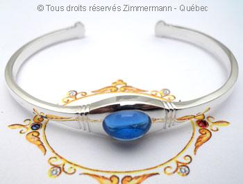 Bracelet argent rigide ouvert Topaze bleue Brac0112