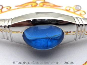 Bracelet argent rigide ouvert Topaze bleue Brac0113