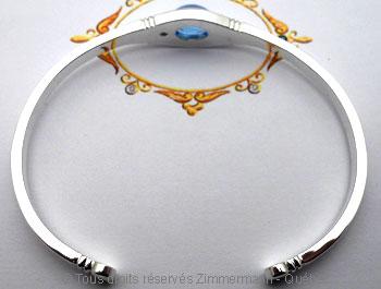 Bracelet argent rigide ouvert Topaze bleue Brac0114