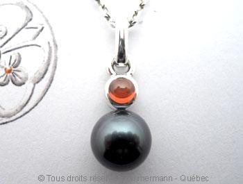 Perle de Tahiti 8,65 mm et Grenat Onissa 4 mm Peatac12