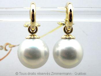 Pendilles avec perles des mers du sud de 12,10 mm Peno6116