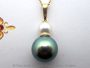 Perle Tahiti 13,9 mm et topaze bleue OMF sur or 18 K Peota610
