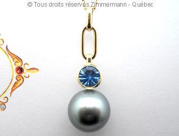 Perle Tahiti 13,9 mm et topaze bleue OMF sur or 18 K Peotf110