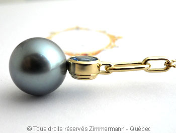 Perle Tahiti 13,9 mm et topaze bleue OMF sur or 18 K Peotf111