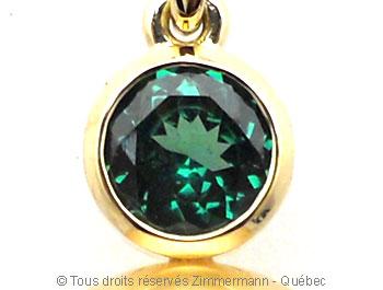Perle Tahiti 13,9 mm et topaze bleue OMF sur or 18 K Peotf114