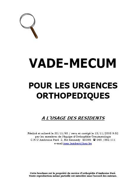 VADE-MECUM pour les urgences orthopédiques Vade1010