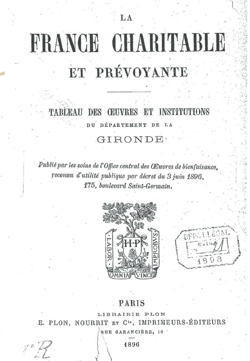 "Les Oeuvres et Institutions "" Charitable "" en Gironde (1896) La_fra10"