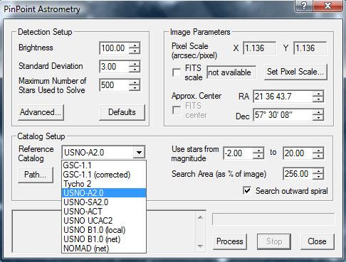 PinPoint Astrometry de Maxim DL Usno10