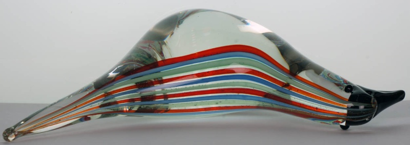 Glass Bird with Coloured Stripes  - Murano or Finnish? Forumg11