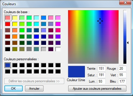 """2 : La boîte d'outils de photofiltre en détail """"les couleurs"""" Palett10"""