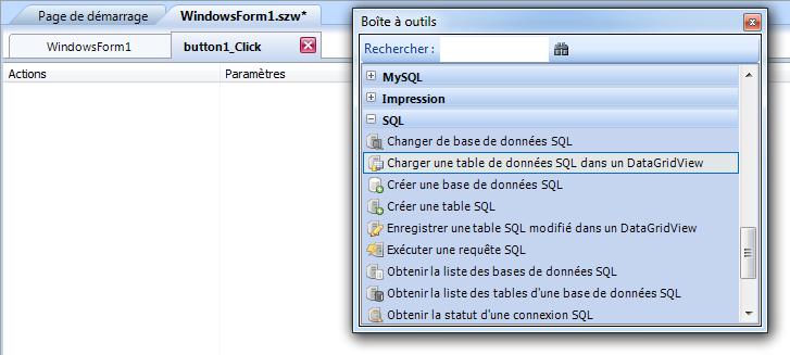 comment réaliser une table, pour une base de donnée a partir d'une fenêtre.szw Sans_t12