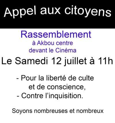 Akbou: Rassemblement pour la liberté de conscience et contre l'inquisition le samedi 12 juillet 2014 à 11h 10520013