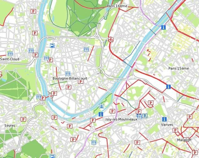 Carte des pistes cyclables Clipbo33