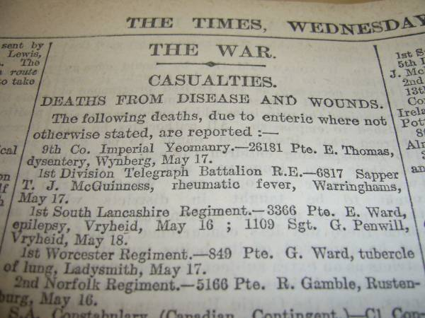 Latest Find - Boer War - The Times of London Times-12