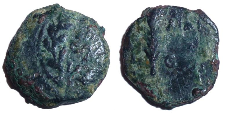 Bronze prutah de la dynastie des Hasmonéens Hasmon12