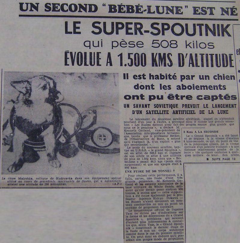 3 novembre 1957 - Spoutnik 2 - Laïka - 1er sacrifié spatial 57110510