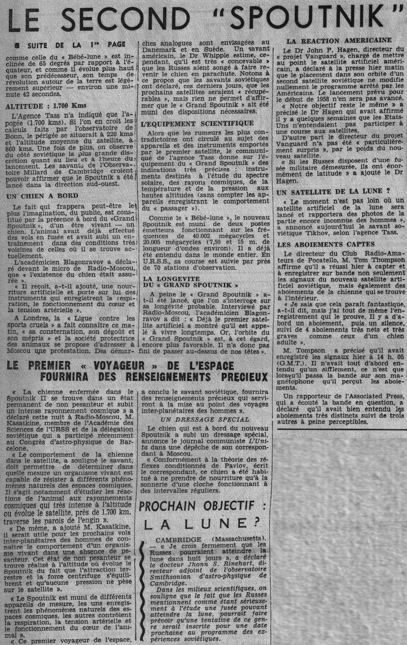 3 novembre 1957 - Spoutnik 2 - Laïka - 1er sacrifié spatial 57110511