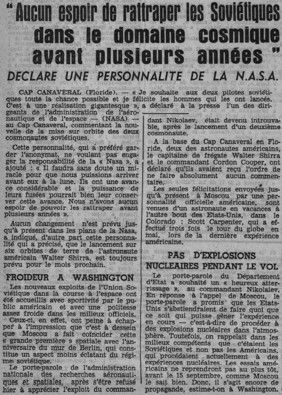 Vostok 3, Vostok 4 - 11, 12 août 1962 - 1ers vols groupés 62081413