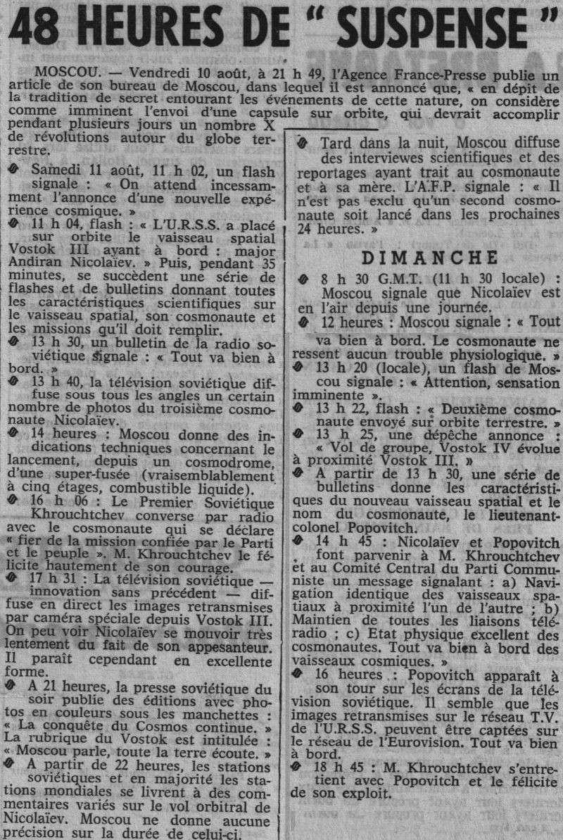 Vostok 3, Vostok 4 - 11, 12 août 1962 - 1ers vols groupés 62081414