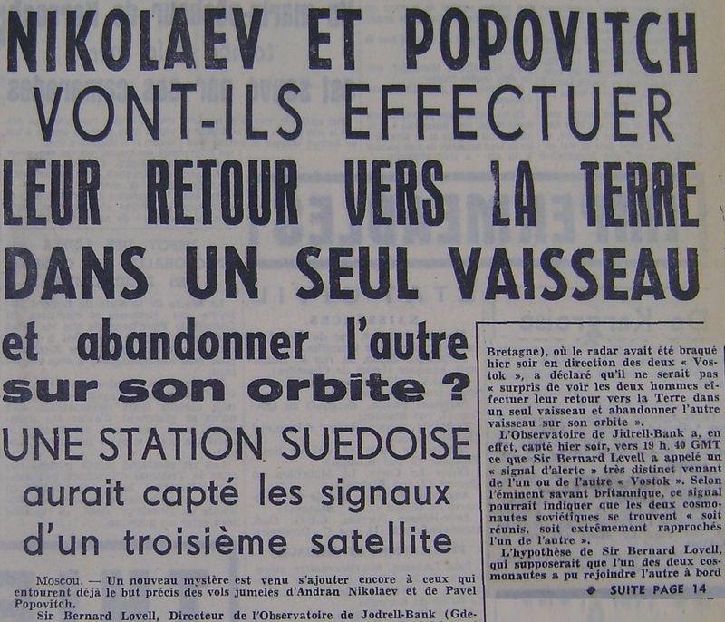 Vostok 3, Vostok 4 - 11, 12 août 1962 - 1ers vols groupés 62081610