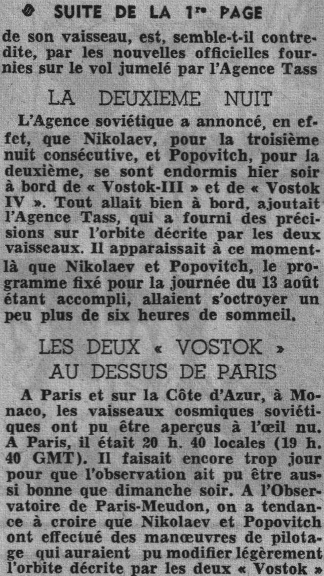 Vostok 3, Vostok 4 - 11, 12 août 1962 - 1ers vols groupés 62081611