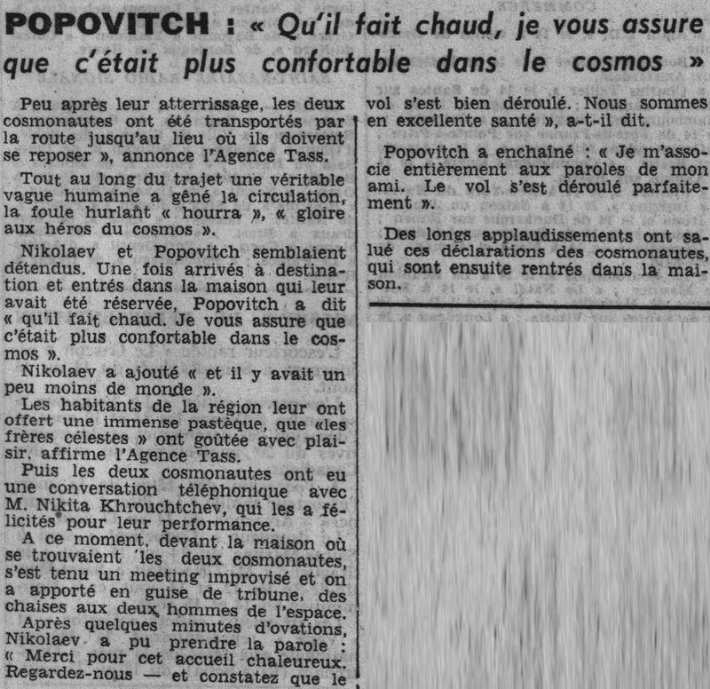 Vostok 3, Vostok 4 - 11, 12 août 1962 - 1ers vols groupés 62081714