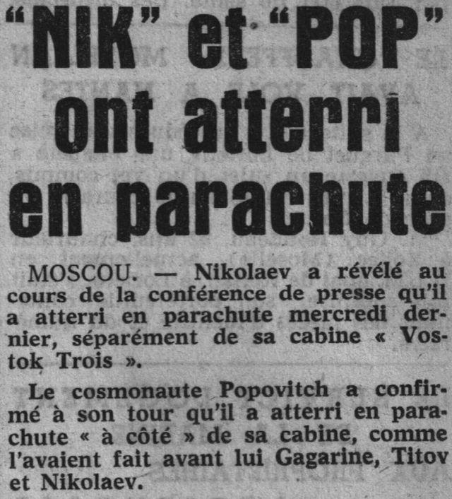 Vostok 3, Vostok 4 - 11, 12 août 1962 - 1ers vols groupés 62082210