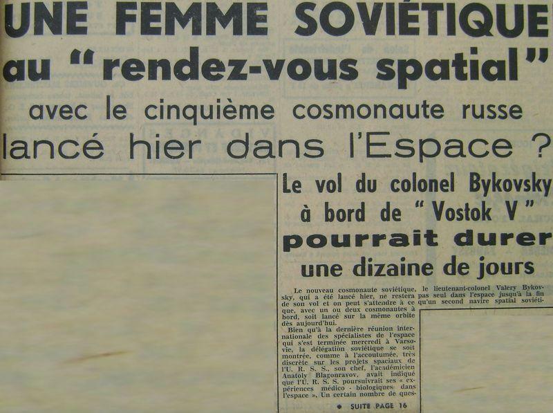 Vostok 5, Vostok 6 - 14, 16 juin 1963 - 1ers vols conjoints 63061710