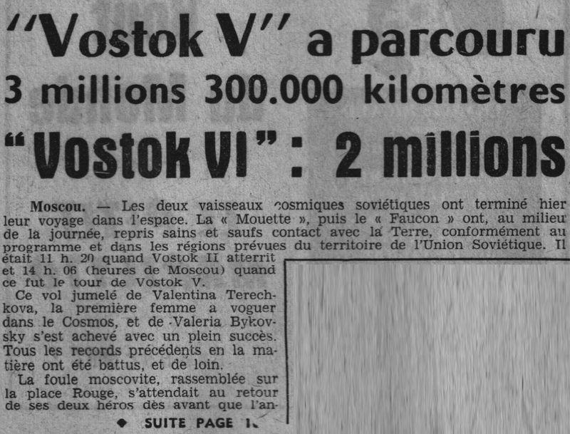 Vostok 5, Vostok 6 - 14, 16 juin 1963 - 1ers vols conjoints 63062110